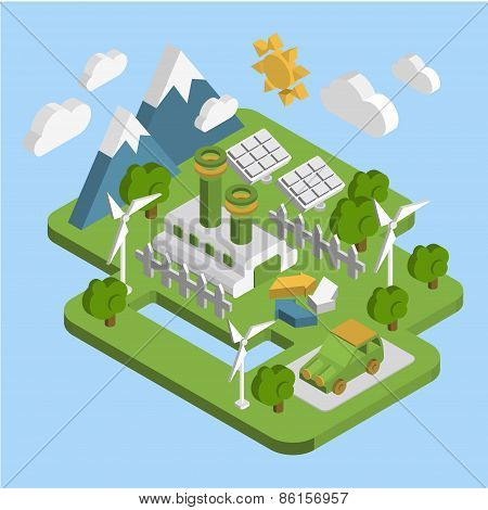 Nature landscape . Apartment 3d isometric ecology green energy