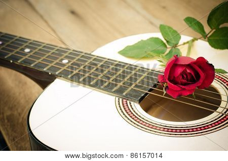 Classical Guitar And Rose.