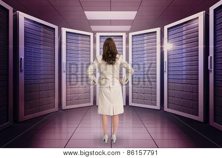 Businesswoman standing back to camera against server room