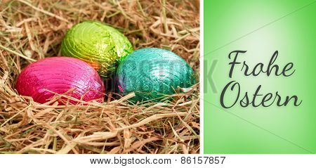 Frohe ostern against green vignette