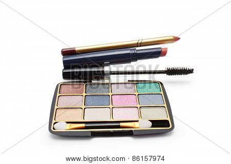 Eyeshadow, Lipstick, Mascara And Lip Pencil