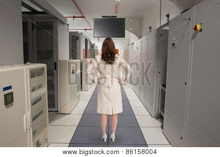 Businesswoman standing back to camera against data center