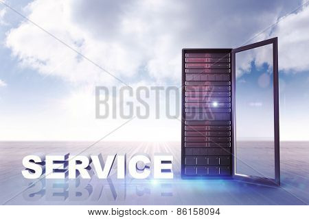 service against cloudy sky background