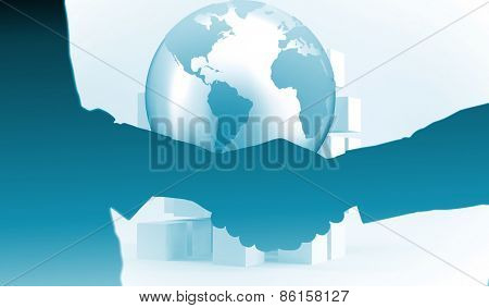 Close-up shot of a handshake in office against planet on grey background with cubes