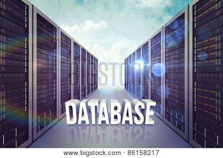 database against painted blue sky