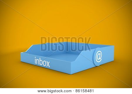 Blue inbox against yellow background with vignette