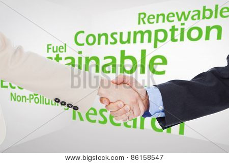 Smiling business people shaking hands while looking at the camera against creative image of green economy concept
