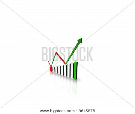 Business Graph With Color Arrow Showing Profits And Gains