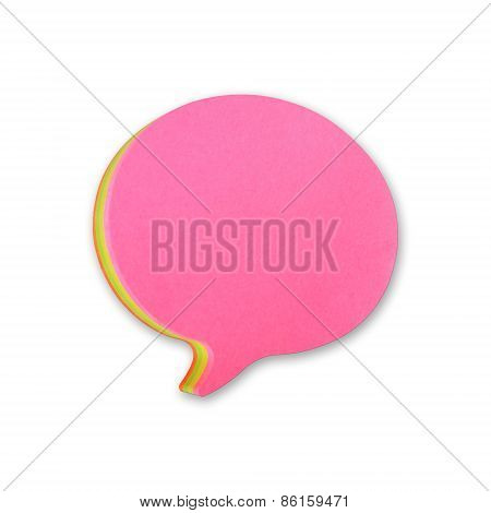 Speech Bubbles Sticky Note Of Cartoon And Comics Over White Background, With Shadow