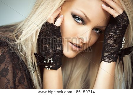 Woman In Lace Gloves