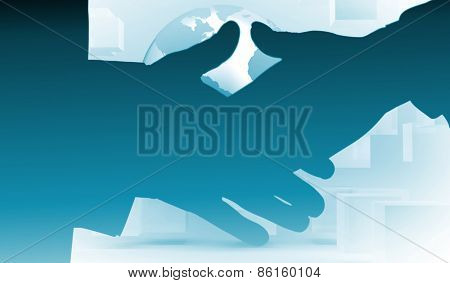 Two people going to shake their hands against planet floating in grey room with cubes