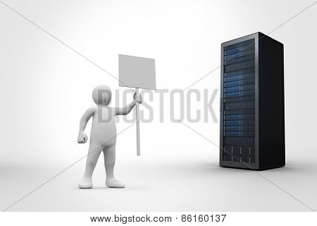 White character holding placard against server tower