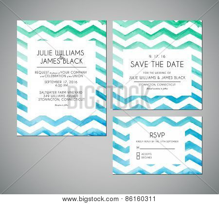 Vector set Wedding invitation cards with watercolor background. Template Wedding invitations or announcements
