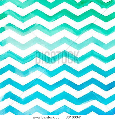 Watercolor blue striped pattern, texture sketch background. Drawing by hand. Vector illustration