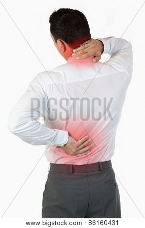 Portrait of the painful back of a businessman against a white background