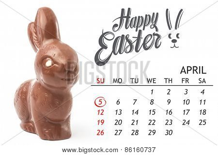 red circle against milk chocolate bunny with white chocolate eye