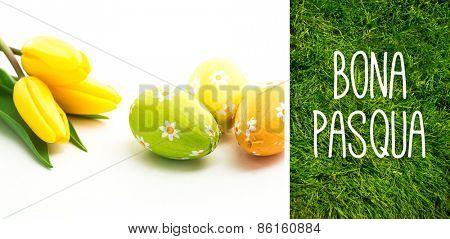 Bona pasqua against grass background