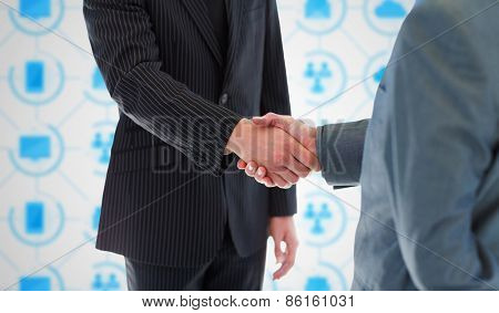 Business people shaking hands against app interface