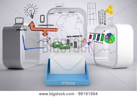 Blue inbox against drawn graphics on grey abstract background