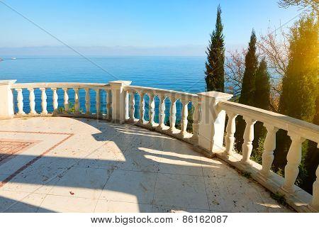 Balustrade near sea
