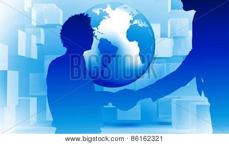 Two businessmen shaking hands in office against planet floating in grey room with cubes