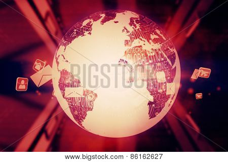 Black and white earth against global communication background