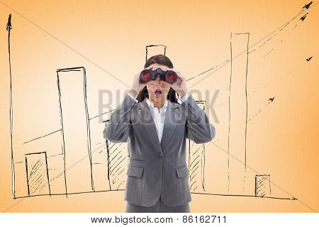 Surprised businesswoman looking through binoculars against digitally generated grey background