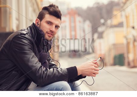 Stylish Guy With Smartphone In The City