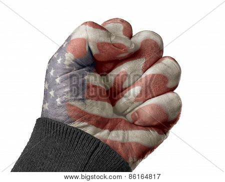 A Fist With An American Flag