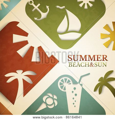 Abstract summer vector illustration. Retro beach and sun concept
