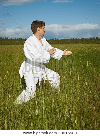 Нoung Man Goes In For Karate In Open Air