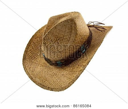 Old Straw Cowboy Hat Isolated On White
