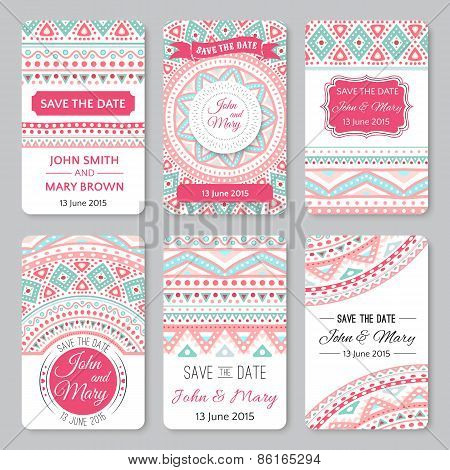 Set of perfect wedding templates with doodles tribal theme
