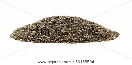 Pile of chia seeds over white