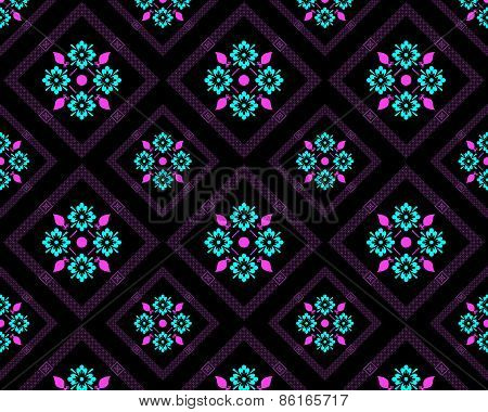 Flower pattern on a black background