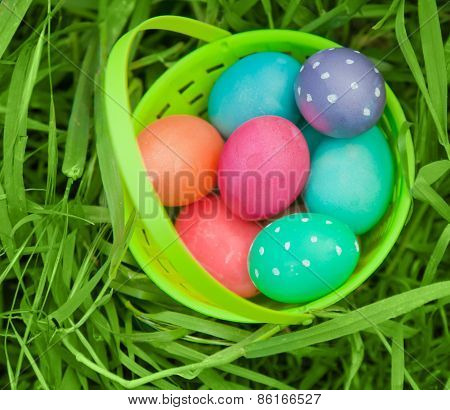 Easter Eggs In Plastic Pail