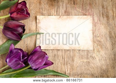 The Old Card And Fresh Tulips From Corner Is Lying On Wooden Background