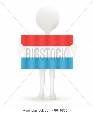 Small 3D Man Holding A Flag Of Grand Duchy Of Luxembourg