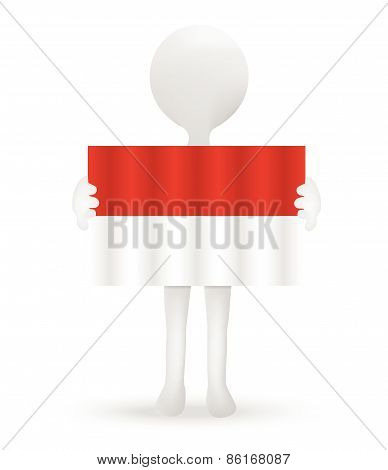 Small 3D Man Holding A Flag Of Principality Of Monaco