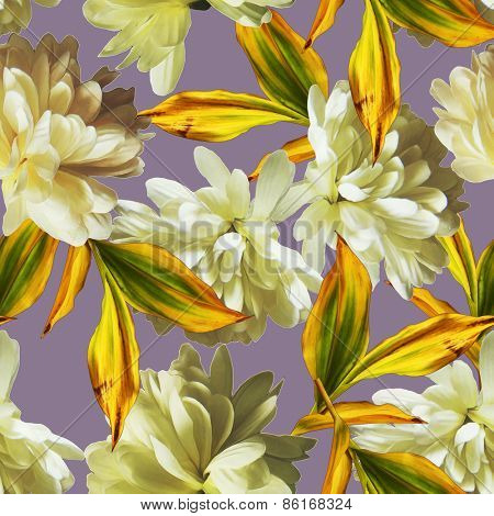 art vintage floral seamless pattern  with white asters on lilac grey background