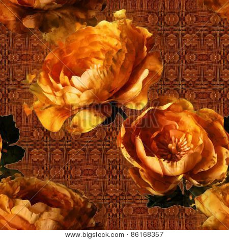 art vintage floral seamless pattern  with golden peonies onornamental brown background