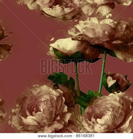 art vintage floral seamless pattern  with beige peonies on dark purple background
