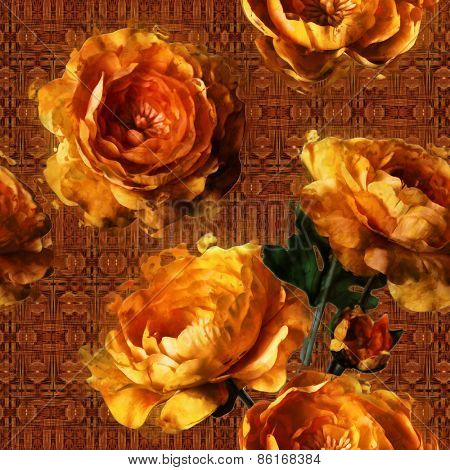art vintage floral seamless pattern  with golden peonies ornamental brown background