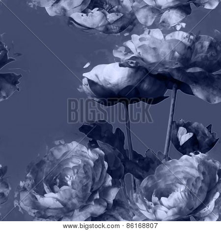 art vintage monochrome floral seamless pattern with white peonies on violet blue grey background