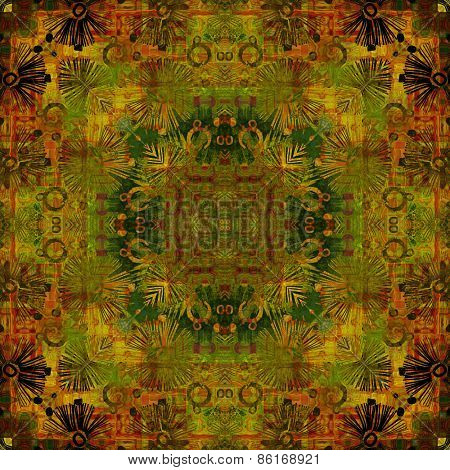 art deco ornamental vintage pattern, S.9, monochrome background in gold, green  and brown colors