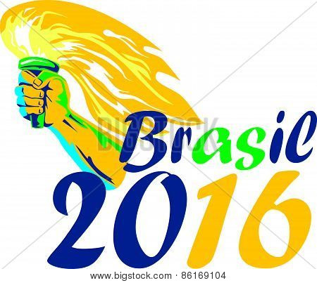 Brasil 2016 Summer Games Athlete Hand Flaming Torch