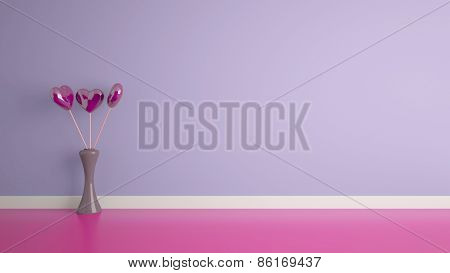 Blank Card With Heart In Vase, Design Concept