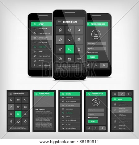 Vector Illustration Of Mobile Ui