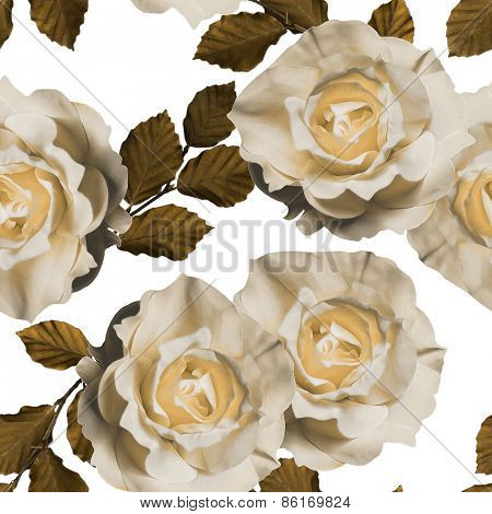 art vintage floral seamless pattern  with tea white roses isolated on white background