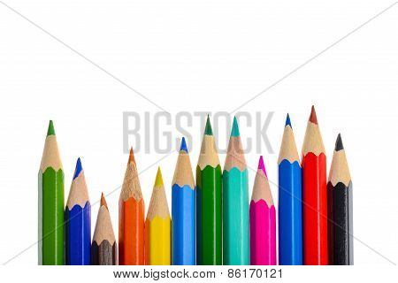 Front View Of Aligned Coloring Crayons Isolated In White Background
